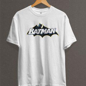 Remera Estampada Unisex Batman Logo Retro – Blanca