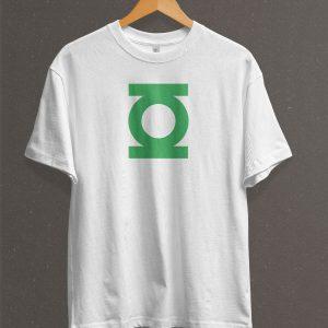 Remera Estampada Unisex Green Lantern Logo – Blanca