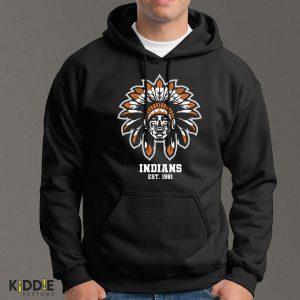 Buzo Estampado Hoodie Indians Est. 1981  – Negro
