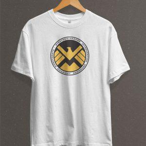 Remera Estampada Unisex S. H. I. E. L. D. Logo – Blanca