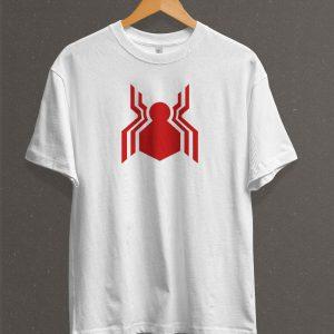 Remera Estampada Unisex Spiderman Logo – Blanca