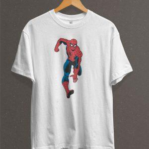 Remera Estampada Unisex Spiderman Vintage – Blanca