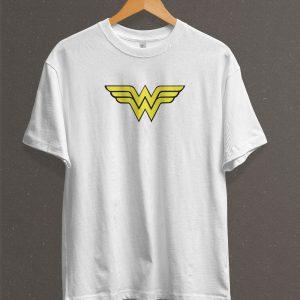 Remera Estampada Unisex Wonder Woman Logo – Blanca