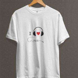 Remera Estampada Unisex I Love Music – Blanca