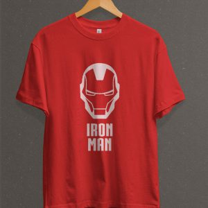 Remera Estampada Unisex Iron Man Face – Roja