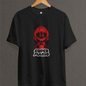Remera Estampada Unisex Super Mario – Negra