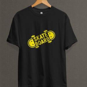 Remera Estampada Unisex Skateboarding – Negra