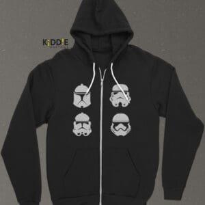 Buzo Estampado Hoodie con Cierre Star Wars Helmets – Negro