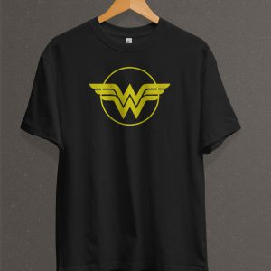 Remera Estampada Unisex Wonder Woman Logo – Negra
