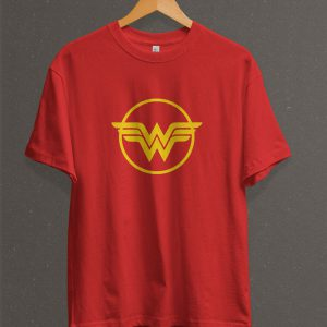 Remera Estampada Unisex Wonder Woman Logo – Roja