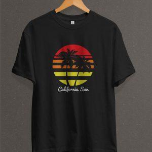 Remera Estampada Unisex California Sun – Negra