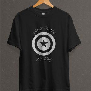 Remera Estampada Unisex Capitán América Escudo – Negra