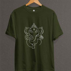 Remera Estampada Unisex Ganesha – Verde Militar