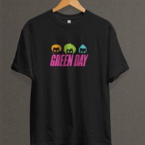 Remera Estampada Unisex Green Day Uno, Dos, Tré – Negra