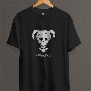 Remera Estampada Unisex Harley Quinn Skull – Negra