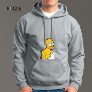 "Buzo Estampado Hoodie ""Homer Pointing"" – Gris"