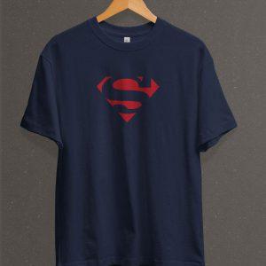 Remera Estampada Unisex Superman Logo Classic – Azul Marino