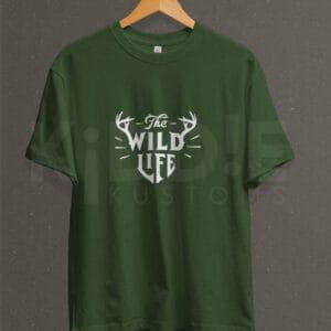 Remera Estampada Unisex Wild Life – Verde Militar