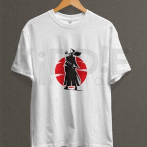 Remera Estampada Unisex Samurai – Blanca