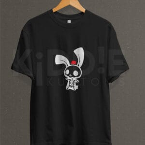 Remera Estampada Unisex Skeleton Bunny – Negra