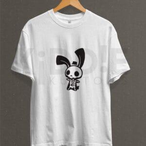 Remera Estampada Unisex Skeleton Bunny – Blanca