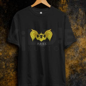 Remera Estampada Unisex Saint Seiya Aries – Negra