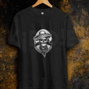 Remera Estampada Unisex Mexican Skull – Negra