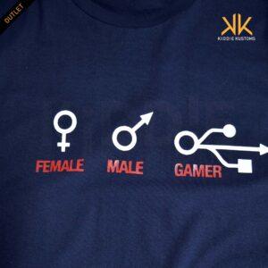 Remera Estampada Unisex Female, Male, Gamer *Outlet* – Azul Marino