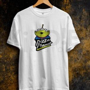 Remera Estampada Unisex Pizza Planet – Blanca