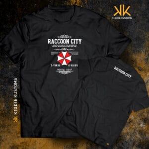Remera Estampada Unisex Raccoon City – Negra